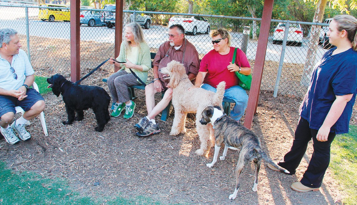 PETS AND PEOPLE—Construction is underway on a community bark park in Westlake Village, similar to this one in Calabasas. ACORN FILE PHOTO
