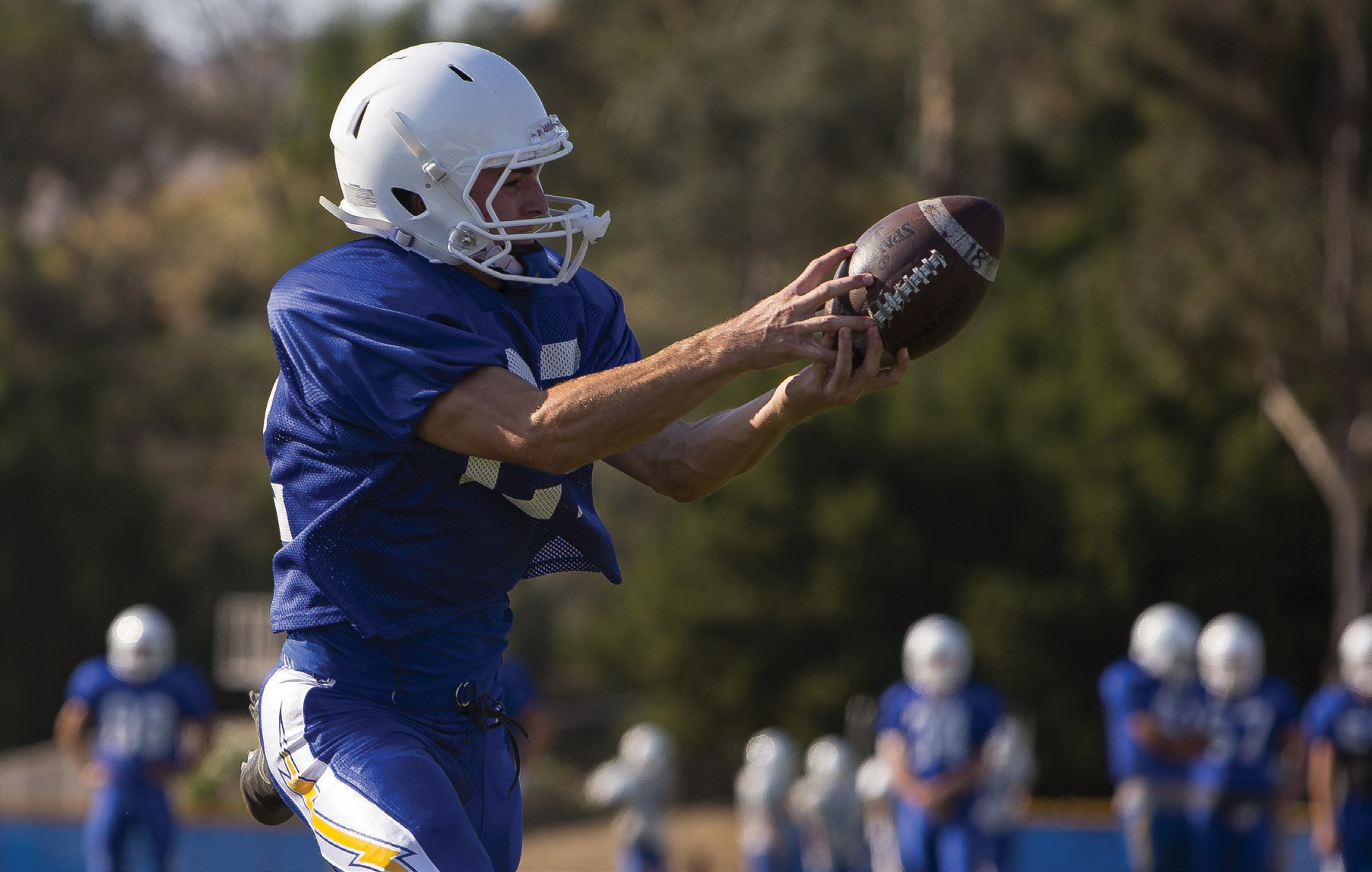 ALL HANDS ON DECK—Agoura's Nico Della Ripa makes a catch at practice. Della Ripa and the Chargers will try to bounce back from their first loss of the season. Agoura plays at El Camino Real on Friday night. BOBBY CURTIS/Acorn Newspapers