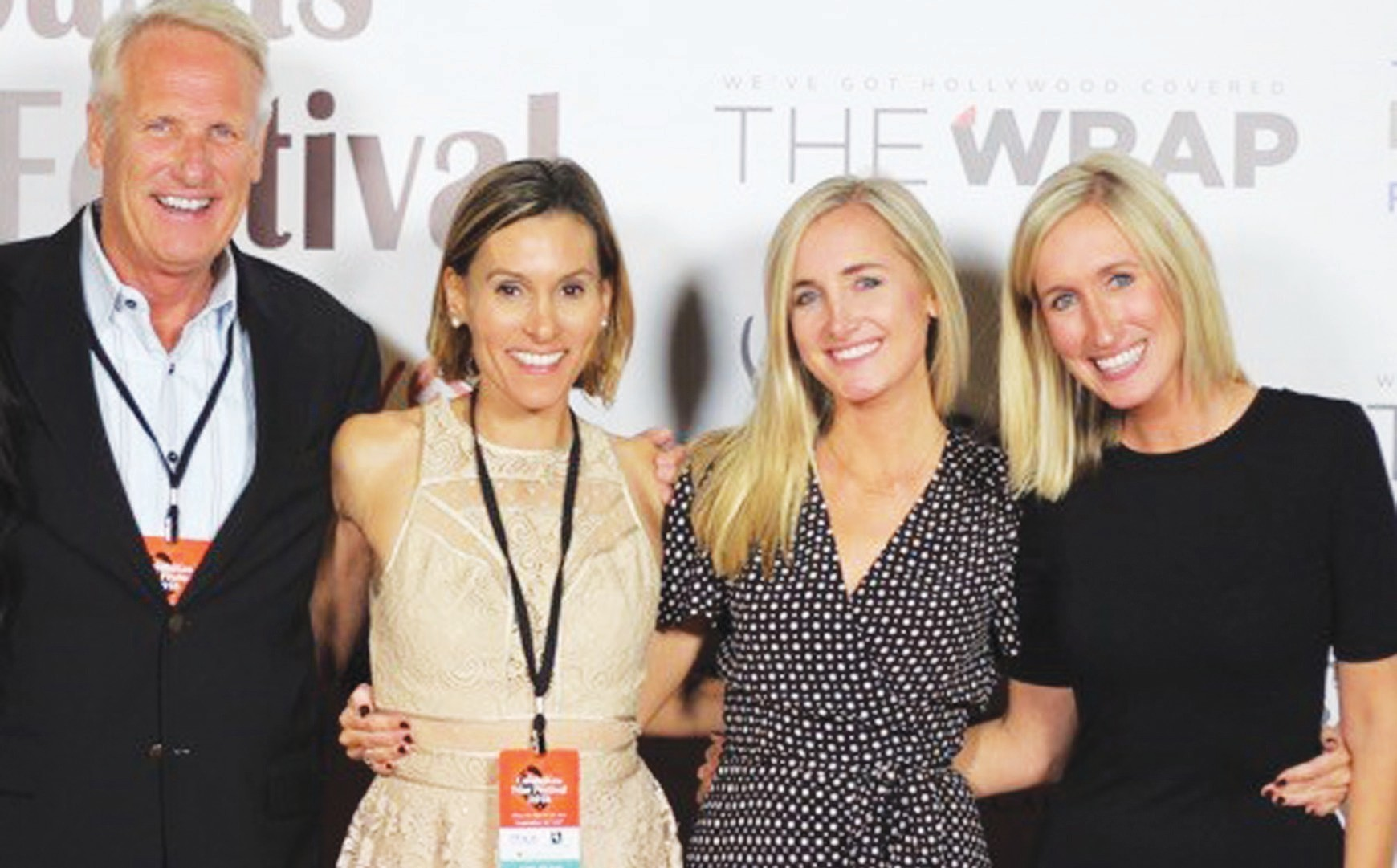 NOW APPEARING—At left isfilm producer Joe Fries and at right his two daughters, Kelly and Nicole Fries, the organizers of the Calabasas Film Festival, at last year's event. Courtesy of Calabasas Film Festival