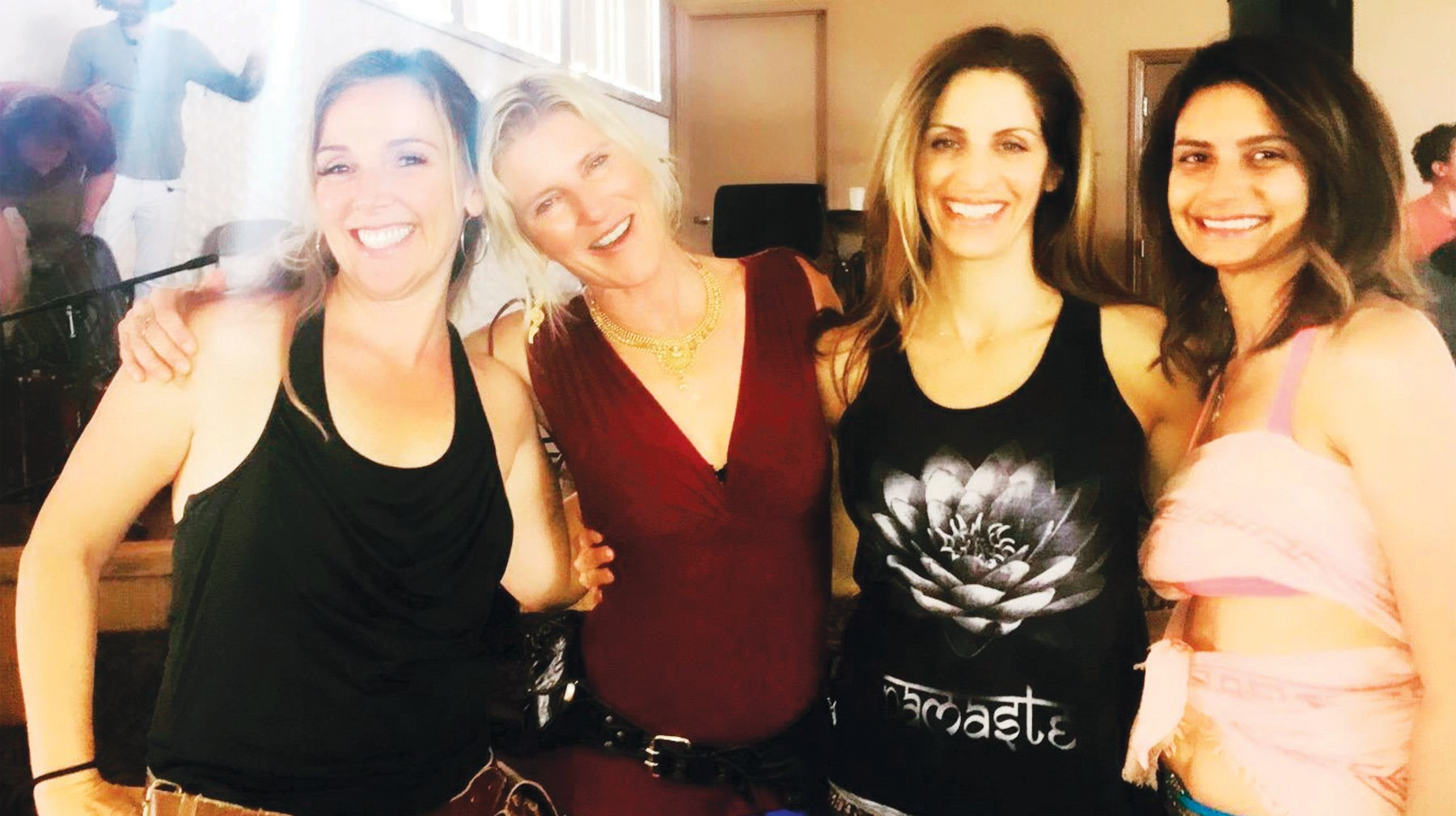 SERENITY—Agoura Hills moms enjoy the after-glow of a Shakti Fest yoga class with master teacher Shiva Rea. From left: Author Rina Nehdar along with Shiva Rea, Lori Calabrese and Rachel Russell.
