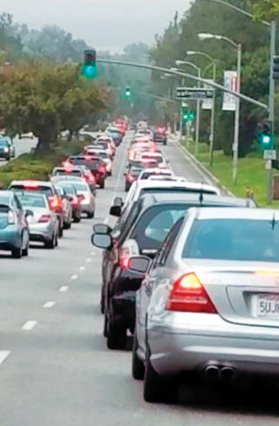 GRIDLOCK—Acorn reader John Thompson took this photo of the all too familiar morning traffic crush on Kanan Road in Agoura Hills where school and work commuters jostle for position.