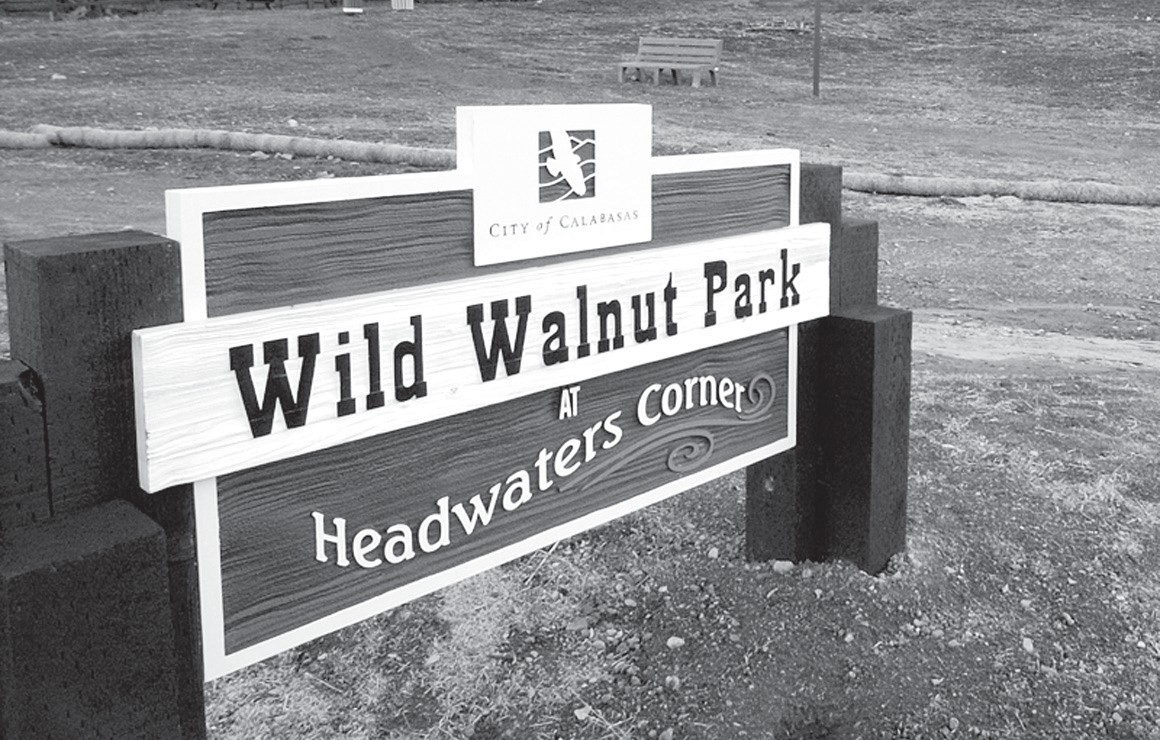 COME VISIT HERE—A monument sign greets visitors to the park at 23050 Mulholland Highway in Calabasas. ACORN FILE PHOTO