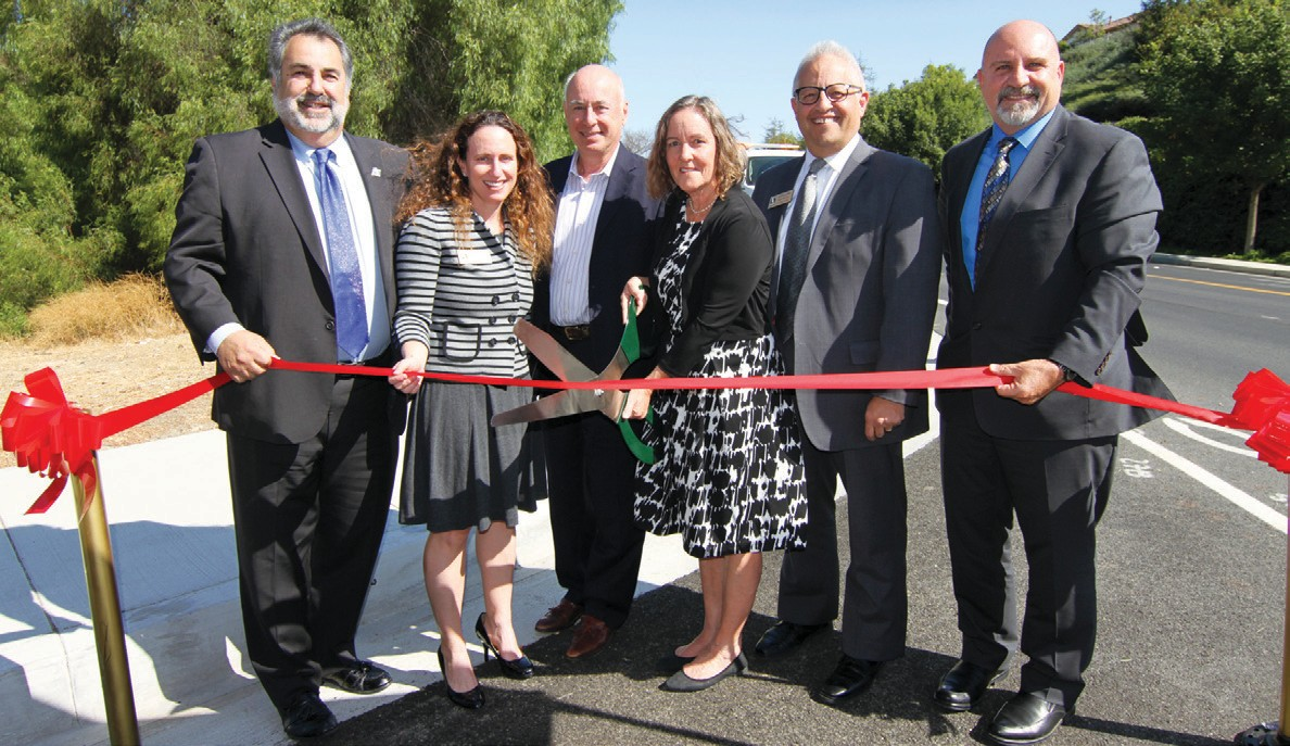 STREET GANG—City officials cut the ribbon on the $5.7-million Las Virgenes Road improvements south of the 101 Freeway in Calabasas. Courtesy City of Calabasas