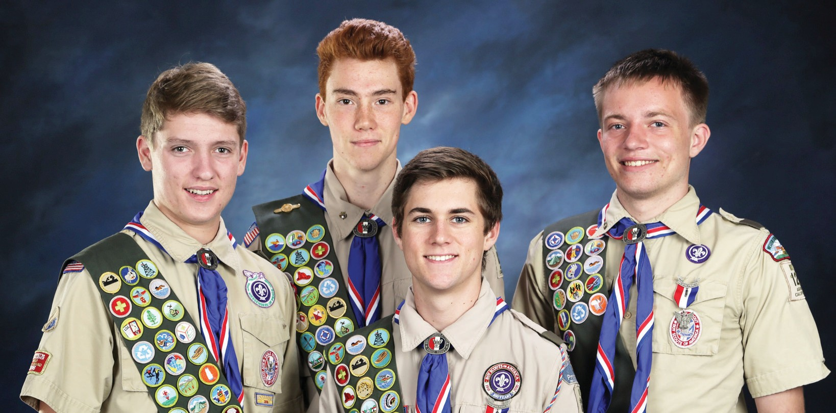 TOP HONOR—From left are new Eagle Scouts Connor Burns, William Fritz, Nicholas Mrachek and Bailey Man of Troop 127 from Agoura Hills. Courtesy photo