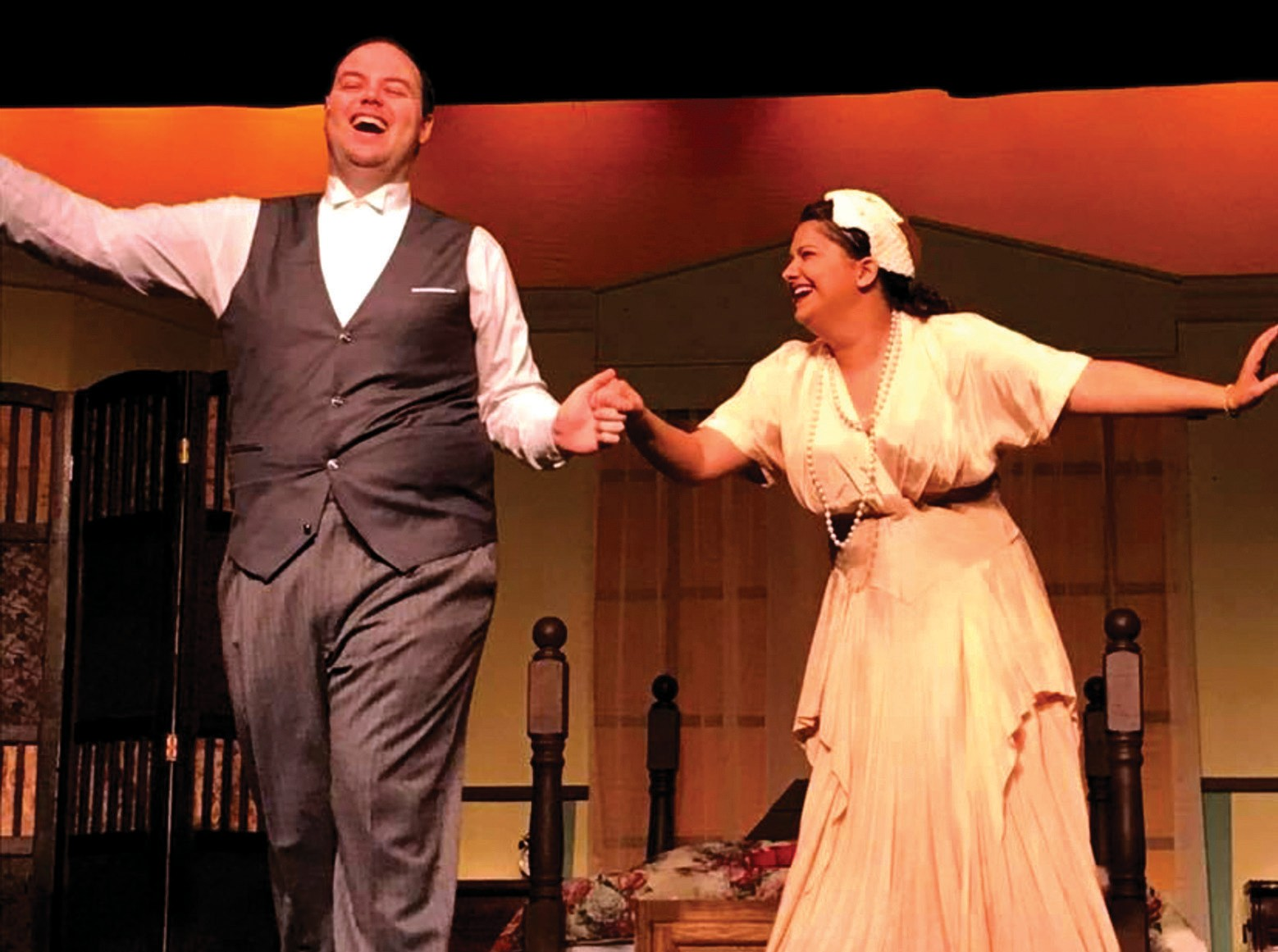 """FOR BETTER AND WORSE—Adam Womack is Michael and Lauren Rachel plays Agnes in """"I Do! I Do!"""" at Camarillo Skyway Playhouse. Courtesy of Dean Johnson"""