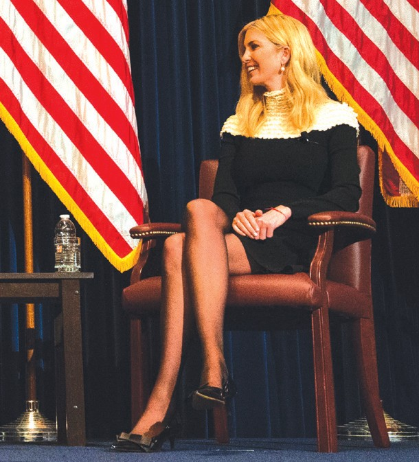 SITTING IN—Ivanka Trump on stage at the Reagan Library. Courtesy of the Ronald ReaganPresidential Foundation and Institute