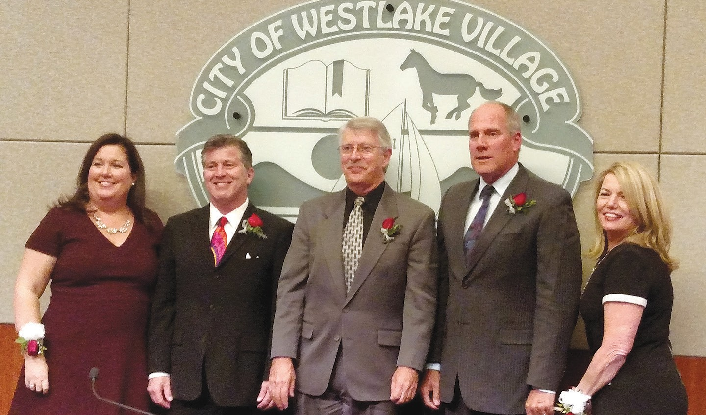 CITY LEADERS—The Westlake Village City Council members for 2018 are, from left, Kelly Honig, Brad Halpern, Mayor Mark Rutherford, Mayor Pro Tem Ned Davis and Susan McSweeney. IAN BRADLEY/Acorn Newspapers
