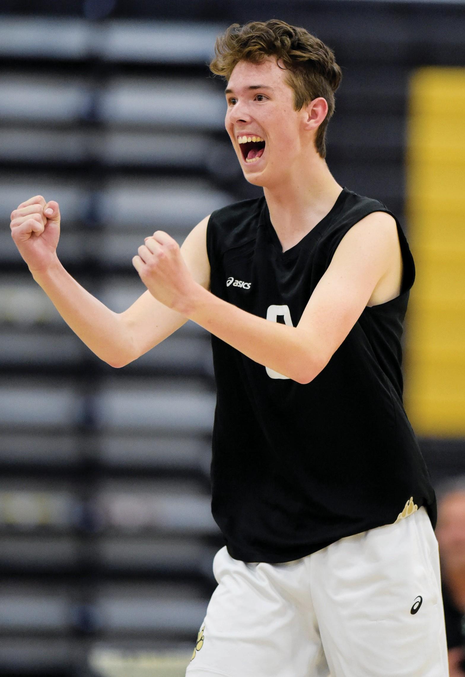 HUZZAH!—Brendin Chandler, a Pepperdine commit, helped Calabasas High's boys' volleyball team reach the CIF-SS Division 2 title match. MICHAEL COONS/Acorn Newspapers