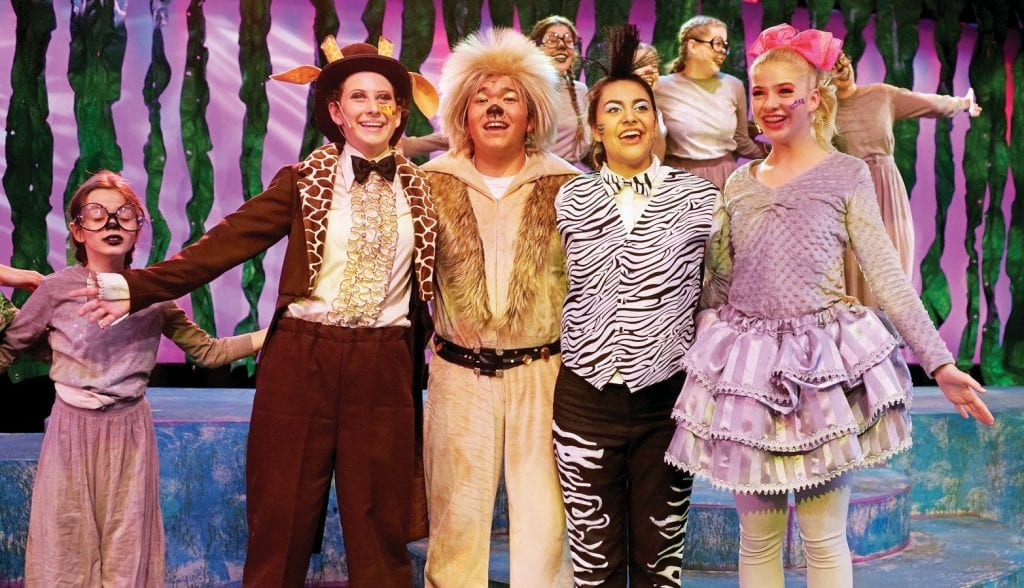 """CREATURE FEATURE—Animals just wanna have fun in """"Madagascar: A Musical Adventure Jr.,"""" a production of Young Artists Ensemble running through Feb. 18. Courtesy photo"""
