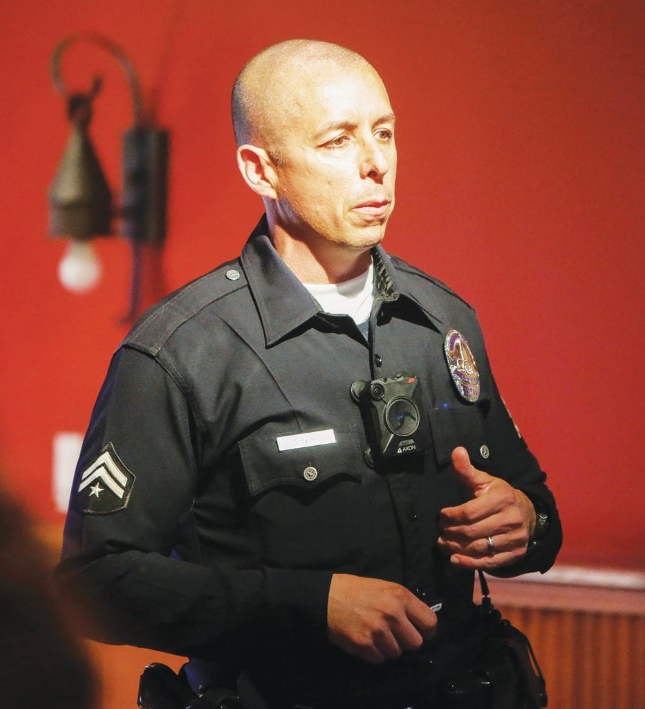 WARNING—LAPD officer Charles Dinse addresses a community meeting Feb. 20 at the Sagebrush Cantina in Old Town Calabasas in which school safety was the topic on everyone's minds. BOBBY CURTIS/Acorn Newspapers