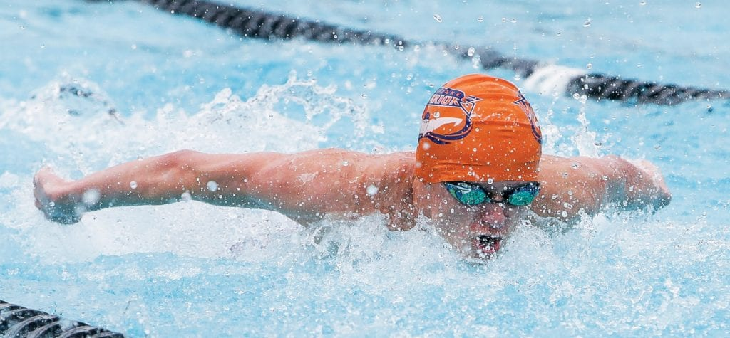 THE BIG FINISH—Westlake's Paul Grace competes in the boys' butterfly at the Spartan Relays on March 2.