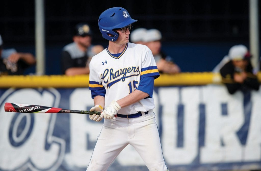 IN A FLASH—Agoura's Spencer Lin, above and top, patrols rightfield for the Chargers. He will play football at Cal Lutheran in the fall. MICHAEL COONS/Acorn Newspapers