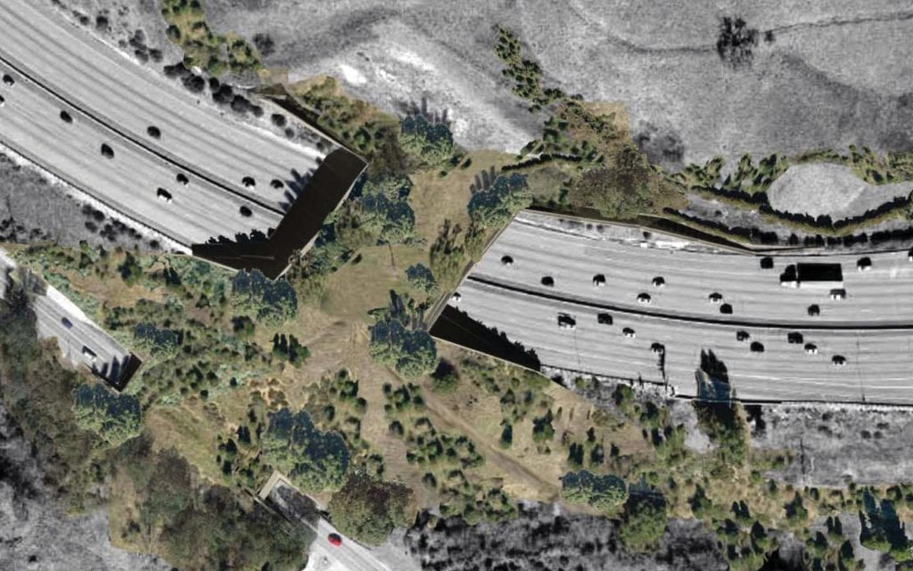 OVER THE TOP—A rendering shows the wildlife corridor spanning both the freeway and Agoura Road. Courtesy of Resource Conservation District of the Santa Monica Mountains
