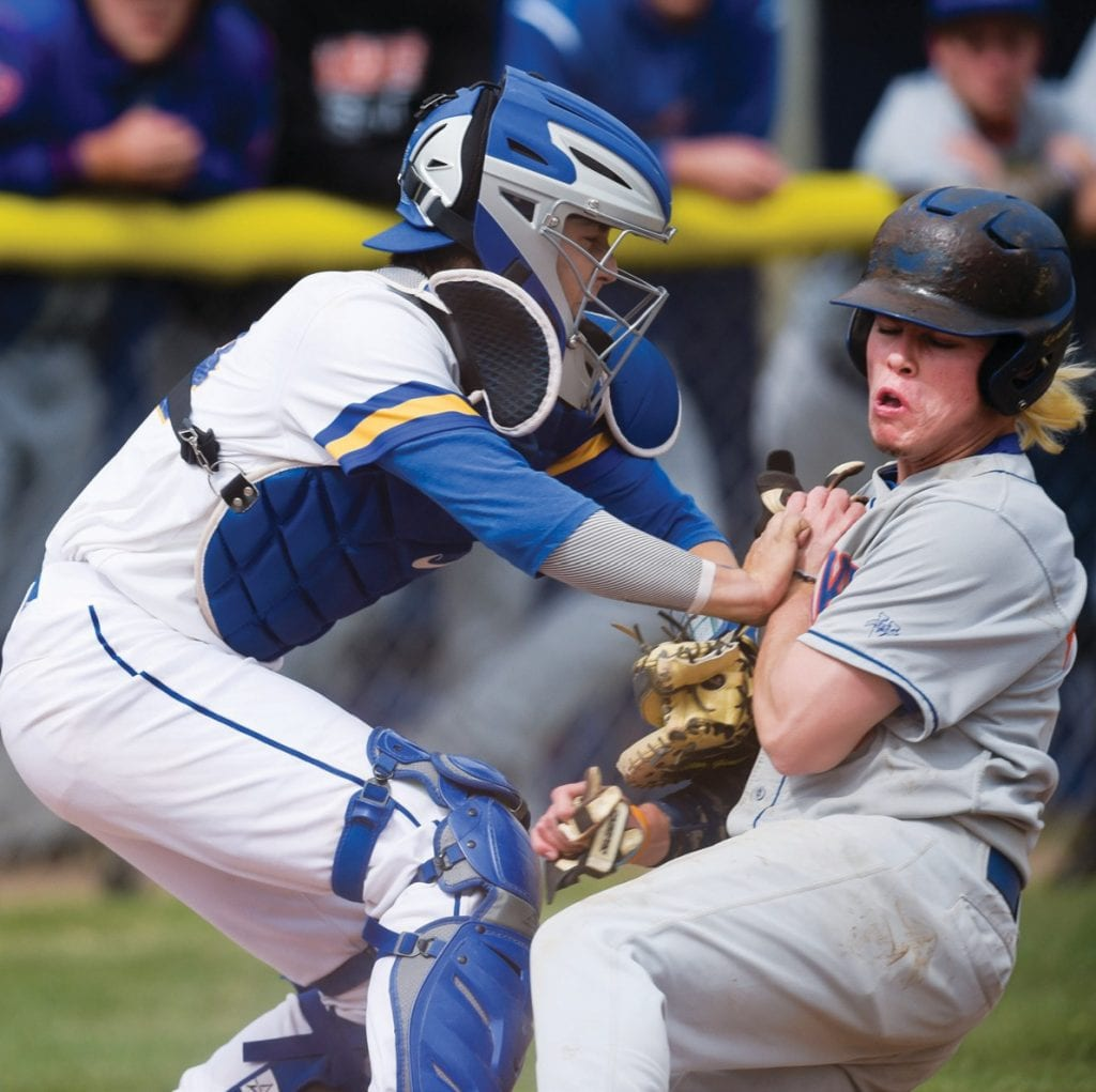 LIGHTNING ROUND—At left, Agoura's Nick Seyler throws to first base against Westlake. At right, Agoura's Taylor Justus, left, tags out Westlake's Danny Hernandez at home plate.