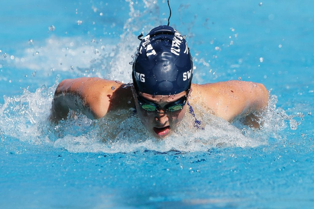 FOR THE LOVE OF THE IVY LEAGUE—Viewpoint High senior Kate Kaplan, who will attend Princeton in the fall, is a standout swimmer for the Patriot girls' team. Kaplan excels in the 100-yard butterfly race. Photos by BOBBY CURTIS/Acorn Newspapers