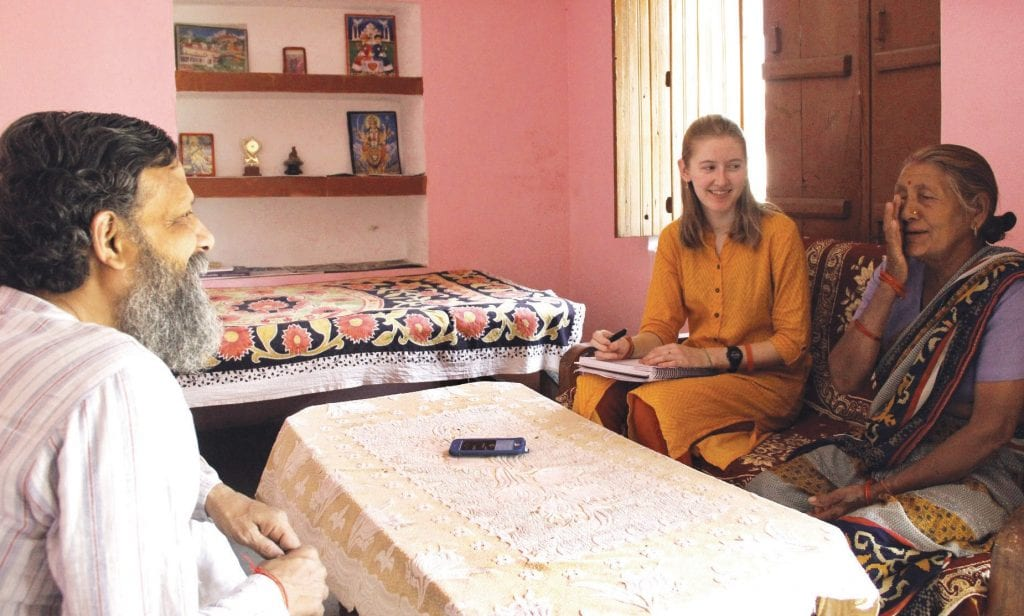 WELL, IT'S A DEEP SUBJECT— Juliet Risko discusses water and its relationship to religious worship with locals during her stay in India. Courtesy photo