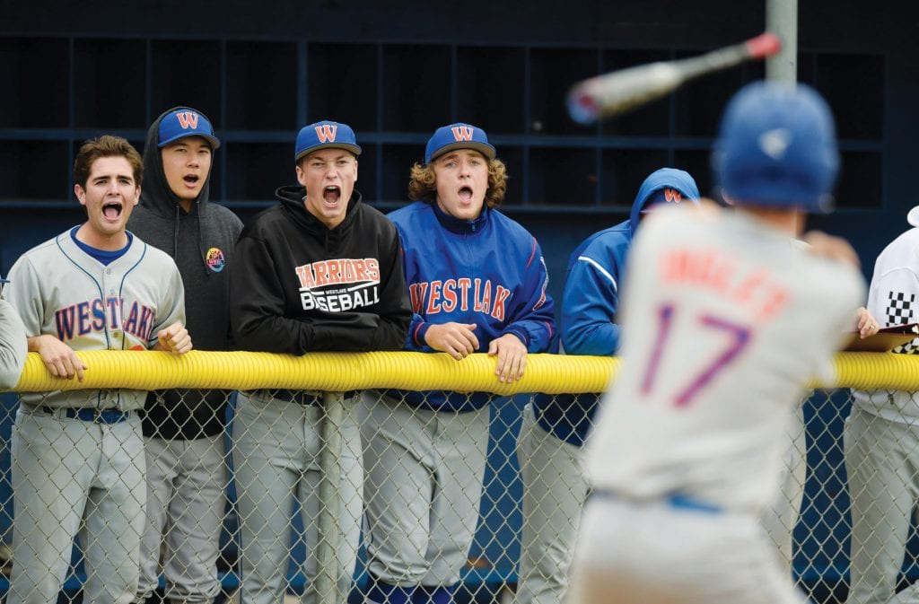 RESTLESS—Westlake players react after teammate Jack Ingles walks against Agoura on May 2 at AHS.
