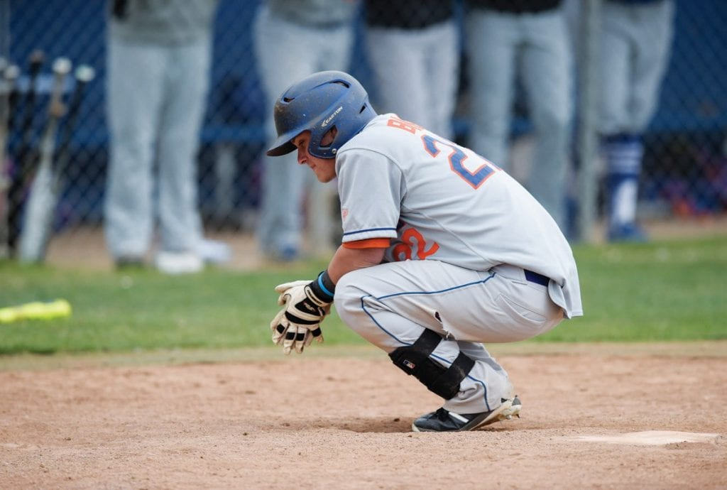 THE BREAKS OF THE GAME—Westlake right fielder Kevin Bleier takes a moment at the plate after striking out in the sixth inning against Agoura on May 2 on the road. Bleier, a junior, will be one of the Warriors' top returners next season.