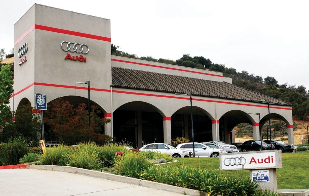 GROWING UP, NOT OUT—Due to the small amount of land available, the Audi dealership in Calabasas plans to expand by building a three-story parking structure. BOBBY CURTIS/Acorn Newspapers