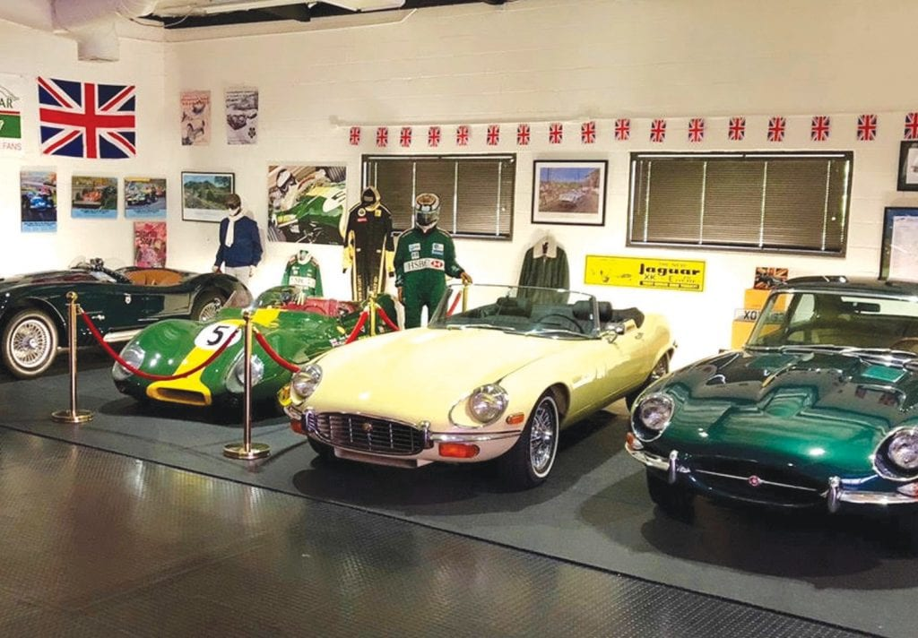 MAXI SHOWROOM FOR MINI CARS— Jaguars and other British gems on display inside the new English Car Company showroom in Agoura Hills. Courtesy Photo