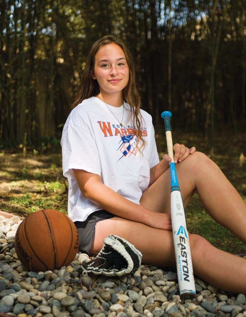 VERSATILE—Sammie Schalk, an honors student at Westlake High, plays softball and basketball for the Warriors. She's also a rower—the incoming senior wants to earn a Division I scholarship in the sport. MICHAEL COONS/Acorn Newspapers