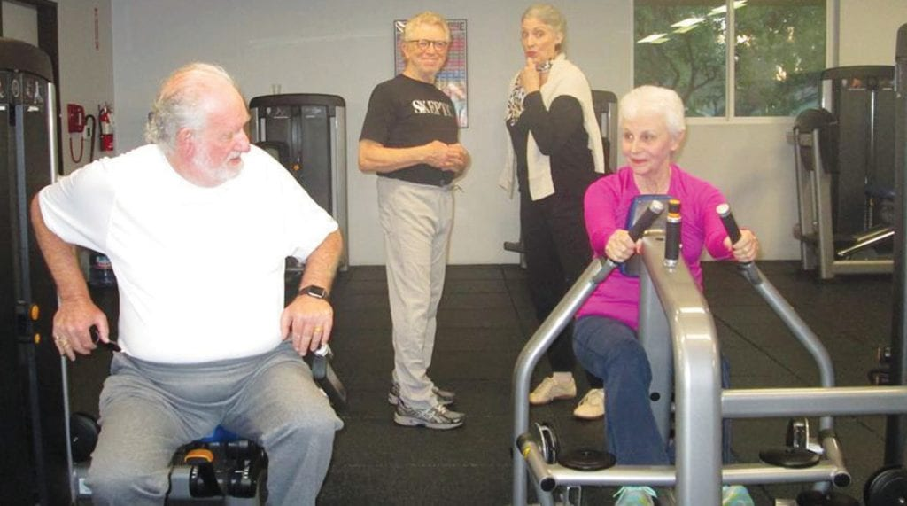 """EXERCISING THE ACTING MUSCLES—From left, Howard Leader, Larry Swartz, Kathleen Silverman and Helene Cohen get in shape in the original play """"Push-Pull"""" at Studio Channel Islands, Camarillo. Courtesy of Lorna Bowen and Don Boughton"""