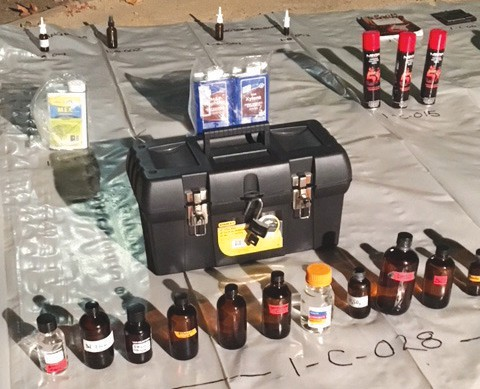 DRUG-MAKING SCENE—Just some of the chemicals police recovered from a Thousand Oaks apartment last week suspected of housing a fentanyl manufacturing operation. Courtesy of TOPD
