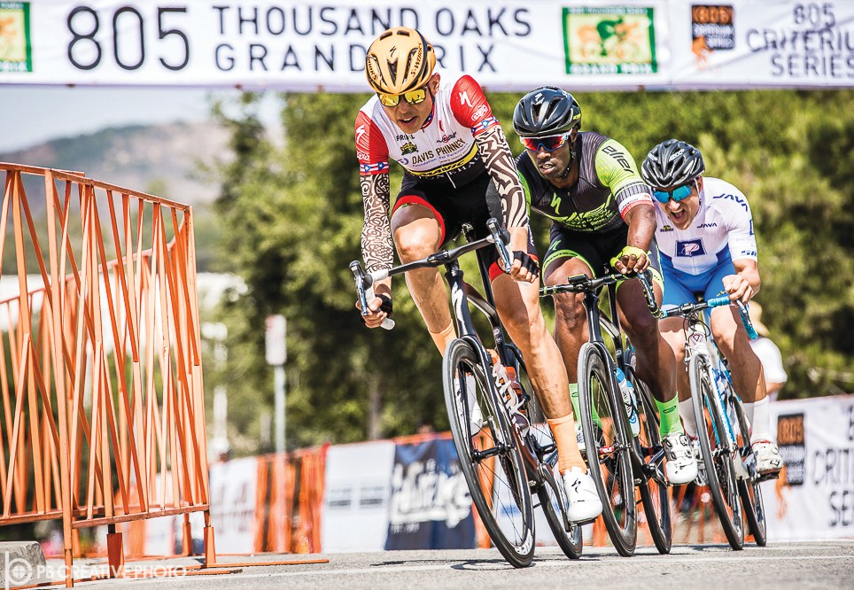 MORE FUN AFTER THE FIREWORKS— Above, professional cyclist Marco Arocha makes his breakaway during the 2017 805 Thousand Oaks Grand Prix Masters race. At left, Hannah Hipley participates in the kids' race, which is open to all local youth. This year's Grand Prix starts Saturday. Photos courtesy PB Creative Photos