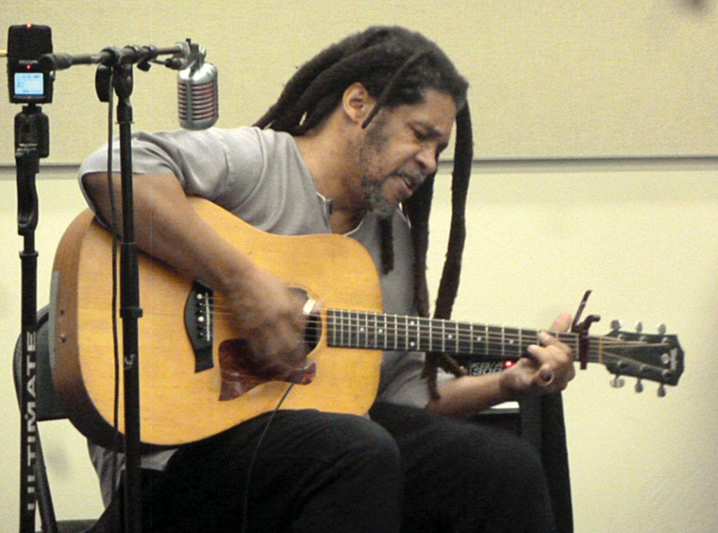 ONE-MAN BAND—Brother Yusef gives a high-powered performance June 24 at the Grant Birmhall Library in Thousand Oaks. CARY GINELL/Acorn Newspapers