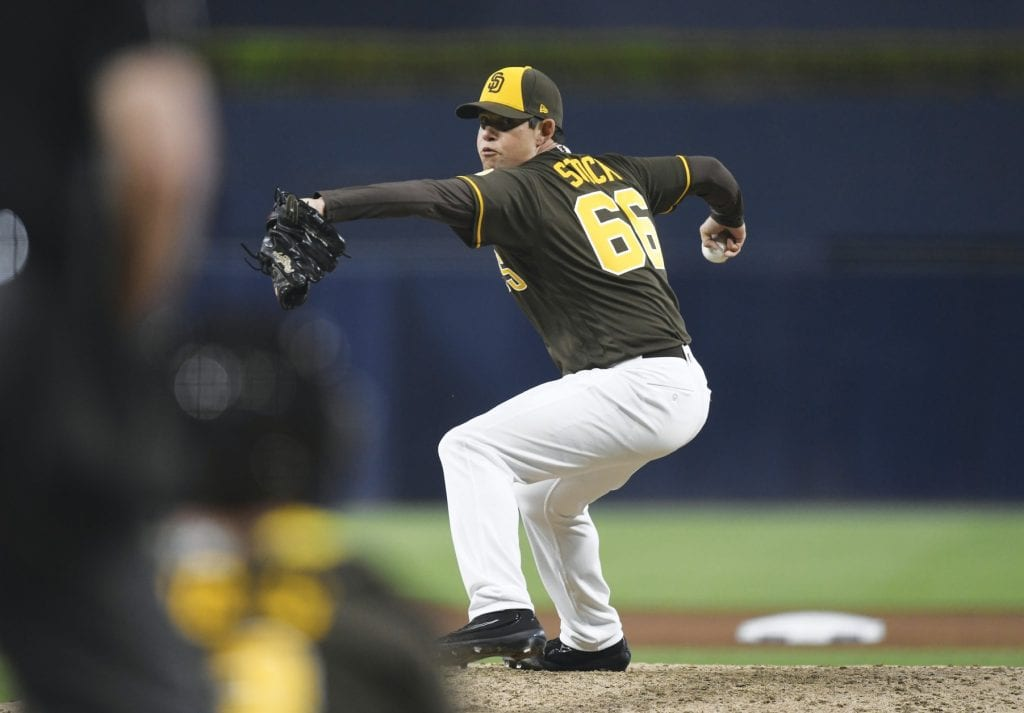 CHEDDAR DELIVERY—Robert Stock, an Agoura High grad, is currently pitching for the San Diego Padres. The 28-year-old rookie was drafted in 2009, as a catcher, by the St. Louis Cardinals. Courtesy of Andy Hayt/San Diego Padres