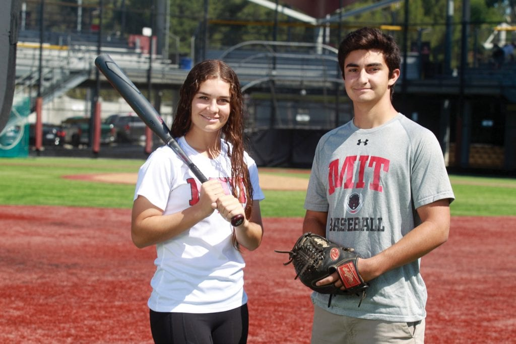TWO OF A KIND—Olivia Lucchese, left, and Jonah Scott will continue playing softball and baseball, respectively, at MIT. Lucchese recently graduated from Oaks Christian High; Scott starred at Oak Park. RICHARD GILLARD/Acorn Newspapers