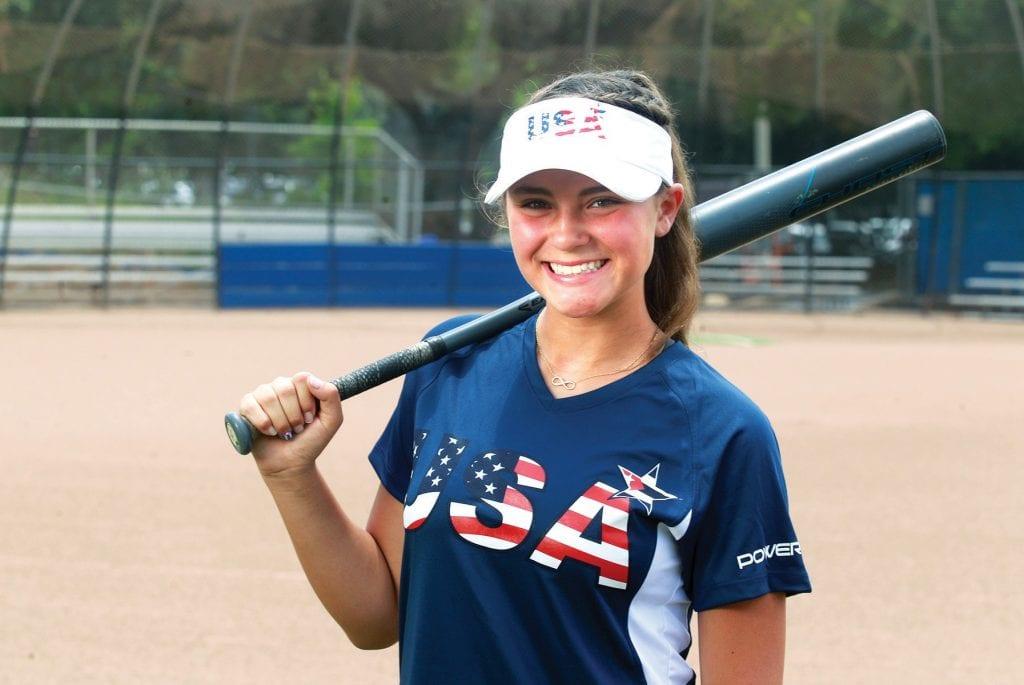RED, WHITE AND BLUE—Maddy Mekari, an incoming Westlake High freshman, is playing international softball games in Cuba this week. RICHARD GILLARD/Acorn Newspapers