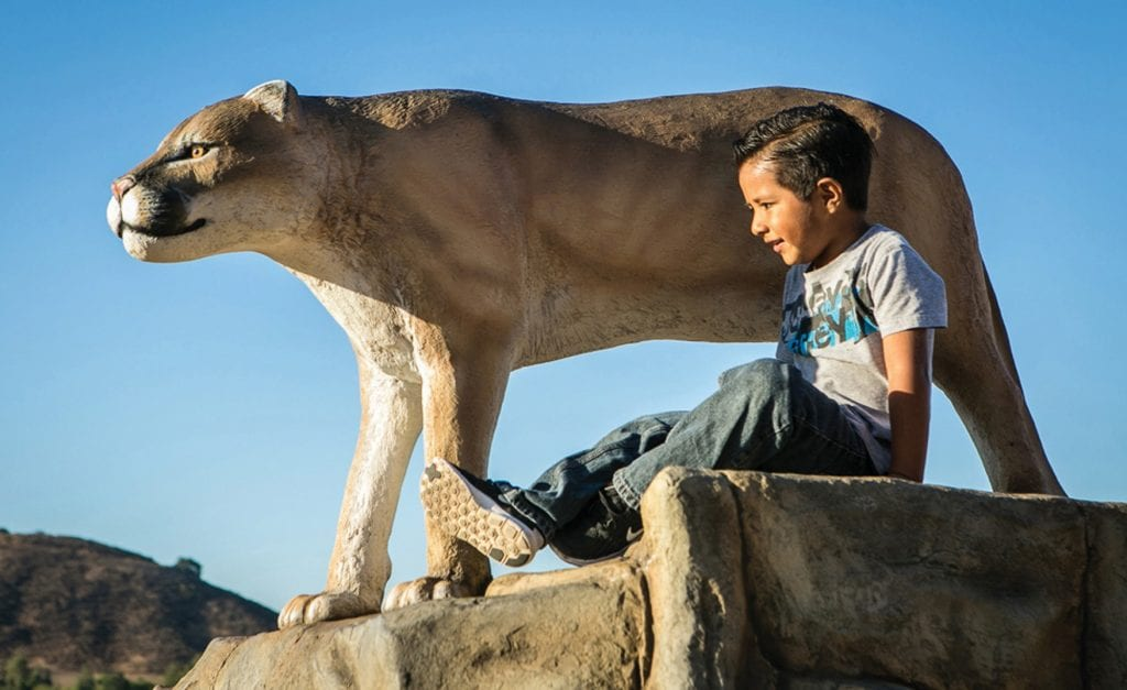 NATURE LOVER—A child plays next to the iconic mountain lion sculpture at the Agoura Hills Recreation Center, one of the many amenities offered to the public by the city. Courtesy of Mike Bigalke, Landscape Structures Inc.