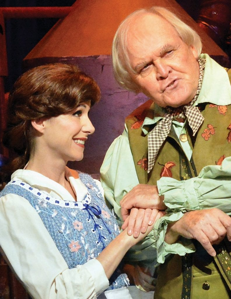 """SOMETHING THERE— Susan Egan as Belle and David Gilchrist as her father, Maurice, in """"Beauty and the Beast"""" by 5-Star Theatricals. Courtesy ofEd Krieger"""