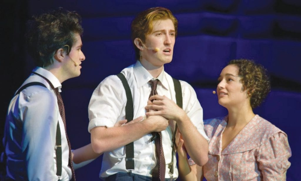 """AWARENESS—From left are Griffen Hamilton as Moritz, Christopher Reilly as Melchior and Lulu Mack as Wendia in """"Spring Awakening, recently staged by Youth Musical Theatre at Agoura High School. Courtesy photo"""