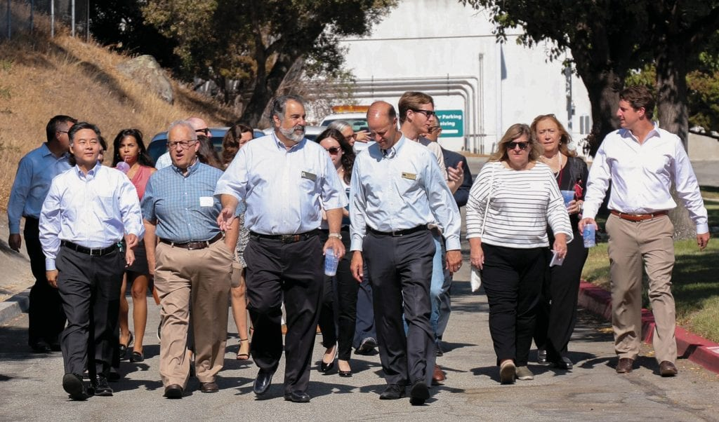 AWARENESS—U.S. Rep. Ted Lieu, front row far left, and California Sen. Henry Stern, far right, join members of the Las Virgenes Municipal Water District and other officials on a July 31 tour of LVMWD facilities in Calabasas, Agoura Hills and Westlake Village. Courtesy Photo