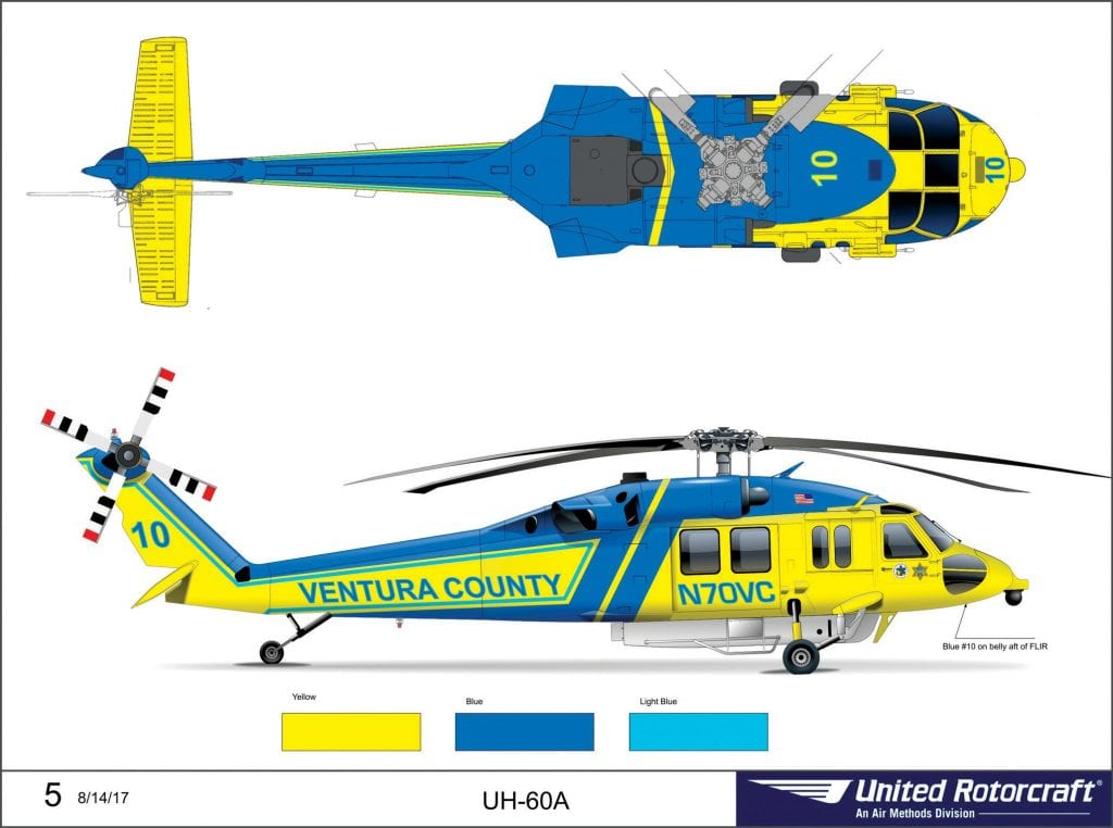 NEW MISSION—A rendering of what Ventura County's two so-called Firehawks will look like when they're operational in 2019. The Black Hawk helicopters were purchased by the Ventura County Fire Department earlier this year and are currently being refurbished for use by police, fire and rescue. Courtesy ofUnited Rotocraft