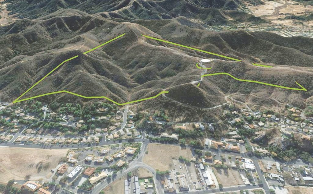 PROTECTED PROPERTY—Area outlined in green shows the 98-acre acquisition, with the 101 Freeway at the bottom, just out of view. The road leading up to the bottom half of the triangular-shaped parcel is Calle Robleda. Courtesy of MRCA and Google Earth