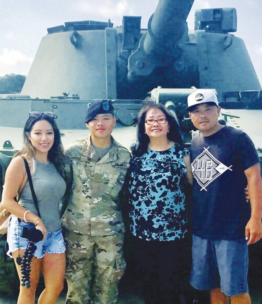 SERVING AMERICA—Derren Cruz, second from left, recently graduated from U.S. Army basic training. The Oak View High School alumnus attended basic combat training in Fort Jackson, S.C., and is now undergoing specialty training in Fort Lee, Va. His parents, Jonathan and Christine Cruz, and grandmother Erlinda Missildine join the new solider. Courtesy photo