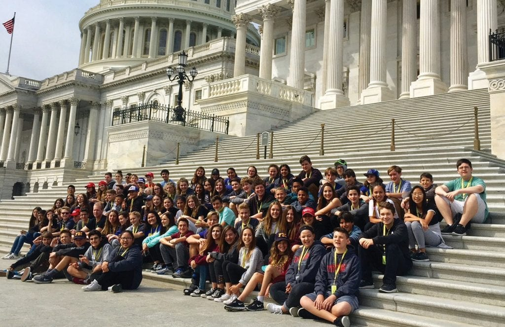 A CAPITOL IDEAL—Lindero Canyo Middle School students visit the nation's seat of government during last year's trip to Washington, D.C., and Williamsburg, Va. The 2019 tour will take place during spring break. Courtesy photo