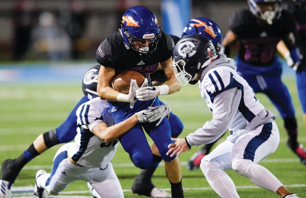 FLY INTO THE MYSTERY—Tyler Enderle, center, and the Westlake High football team will put their undefeated record on the line on Friday night against Moorpark on the road. Enderle is a junior receiver. MICHAEL COONS/Acorn Newspapers