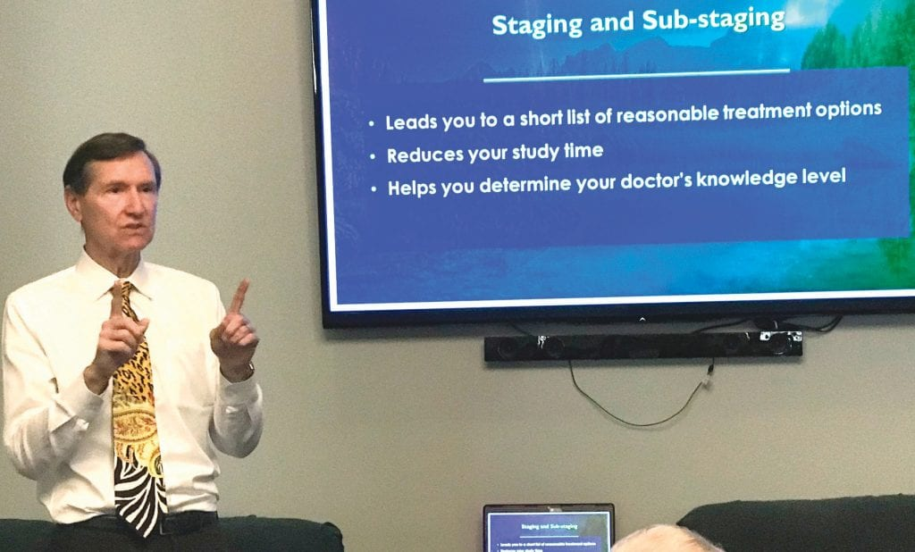 KNOWLEDGE IS POWER—Dr. Mark Scholz tells men and their spouses about the latest advances in prostate cancer treatment during a Jan. 18 presentation at the Cancer Support Community in Thousand Oaks. JOHN LOESING/Acorn Newspapers
