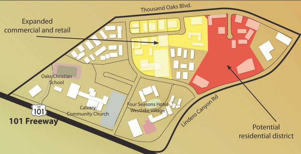 CHANGES—Map shows the 200-acre Westlake North Business Park zone north of the 101 Freeway and west of Lindero Canyon Road in Westlake Village. Rezoning could open the door for approximately 1,000 new homes, but the proposal has faced opposition from change-resistant businesses and residents.