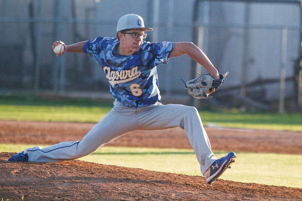 GET LOW—Agoura senior pitcher Liam Bowen will continue playing baseball at Occidental College.