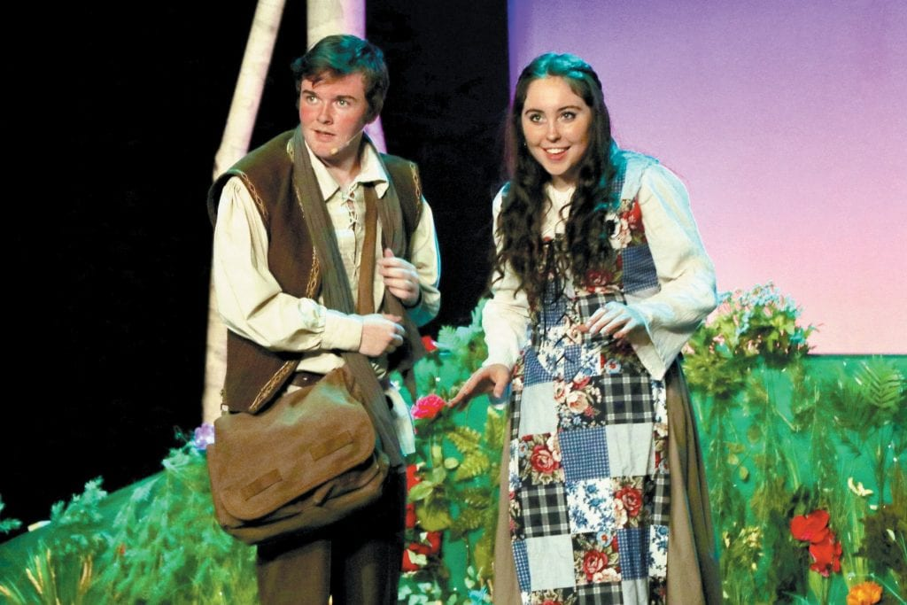 """HAPPY ENDING?—The Baker (Paul Hurley) and his wife (Isabelle Rogerson) set out """"Into the Woods"""" at Westlake High School. Courtesy of Edie Kraft"""