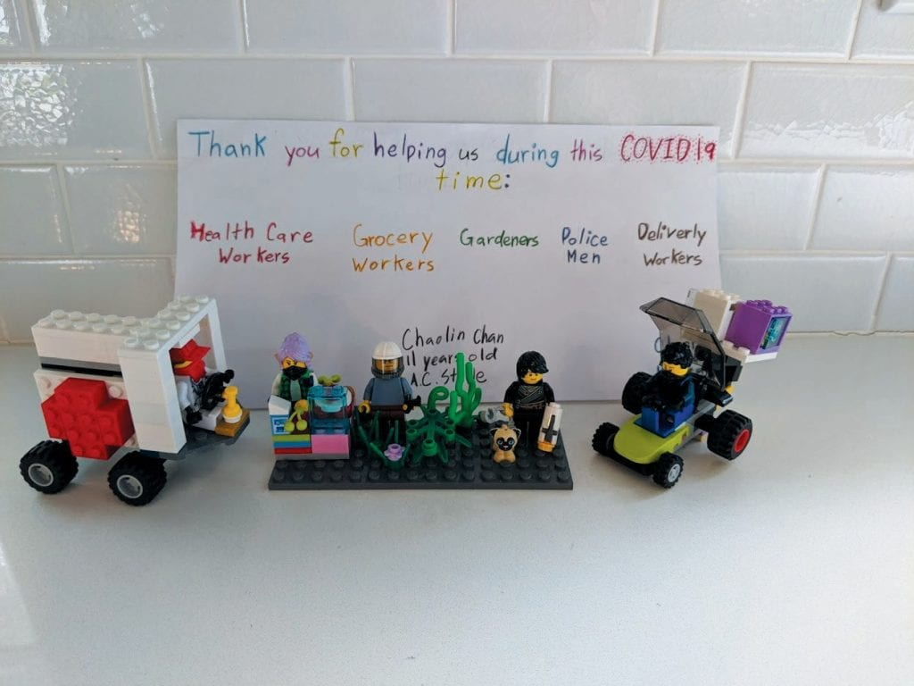"TO ALL RESPONDERS—Chaolin's creation says ""Thank you for helping us during this COVID-19 time."" Created by Chaolin Chan"