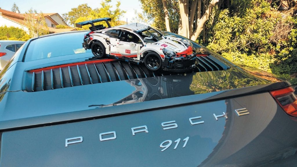 DOUBLE TROUBLE—One 911 RSR racecar on top of another 911. Sam's a true Porsche fan. Created by Sam Wagner