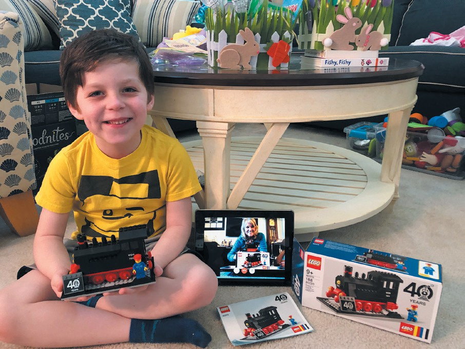 TOGETHERNESS—With grandma on the Ipad, Joshua and her enjoy building while social distancing. They each build the 40th Anniversary Train together via FaceTime. They look forward to the real thing in person. Created by Joshua, 5, and grandmother, 65