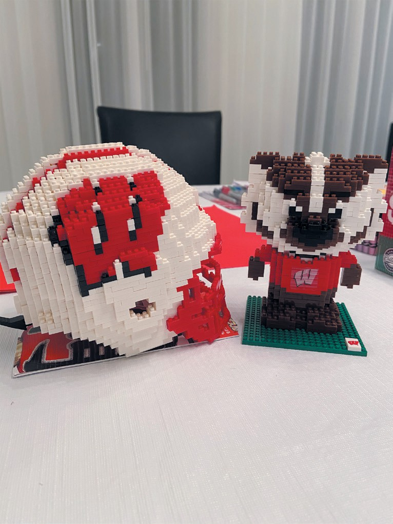 GO BADGERS—This father-daughter team builds a Wisconsin Football helmet and Bucky Badger to support the University of Wisconsin. Created by Mike Grenley and daughter