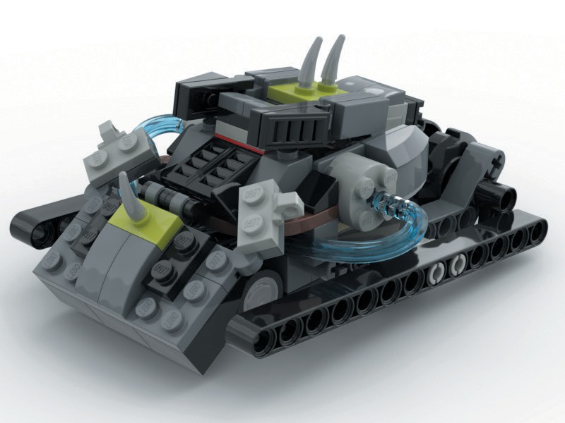LAND OR SEA—This tank, built from 116 Lego pieces, has hidden guns under the front plate, spikes on top, and a bunch of other cool things that allow it run in water or on land. Created by Dean Cacciotti